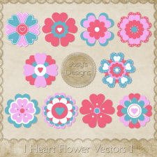 I Heart Flower Layered Vector Templates 1 by Josy