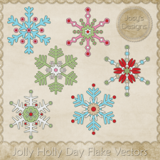 Jolly Holly Day Flake Layered Vector Templates by Josy