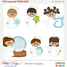 Winter Angels Layered Element Templates