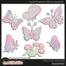 EXCLUSIVE Layered Butterflies Templates by NewE Designz