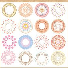 Halftone circle vector clipart Lilmade Designs