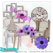 Pack 103 furnitures and flowers by Kastagnette