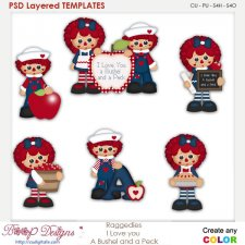 Raggedies I Love You Layered Element Templates