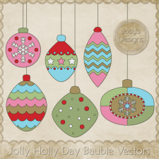 Jolly Holly Day Bauble Layered Vector Templates by Josy