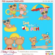 Marshmallow & Honey Beach Day Fun Layered Element Templates