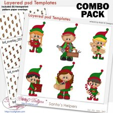 Santa's Helpers Layered Templates with Patterns COMBO Set