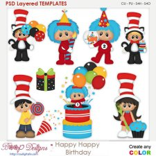 Happy Birthday Layered Element Templates