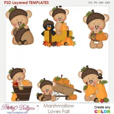 Marshmallow Bear Loves Fall Element Templates