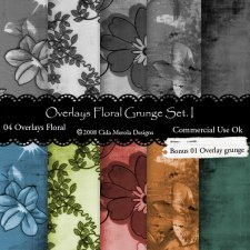 Floral Grunge Overlays Set 1 by Cida Merola
