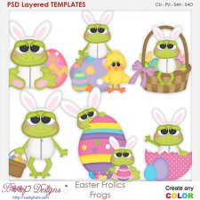 Easter Frolics Frogs Layered Element Templates
