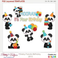 Baby Panda Birthday Layered Element Templates