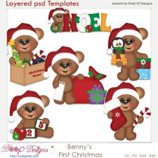 Benny's the Bear First Christmas Layered Template COMBO Set