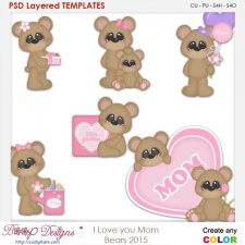 I Love You Mom Bears Layered Element Templates