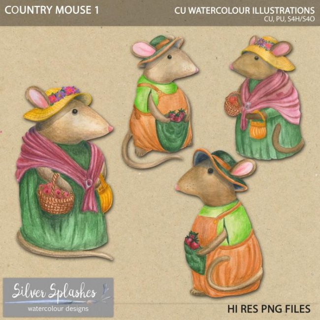 EXCLUSIVE Country Mouse 1 Watercolour by Silver Splashes
