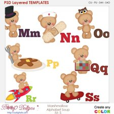Marshmallow Bear Alphabet Soup M to S Layered Element Templates