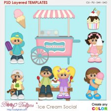 Ice Cream Social Layered Element Templates