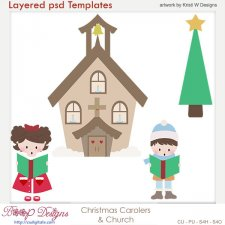 Christmas Carolers Layered Template COMBO Set