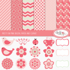 Spring clipart and paper pack