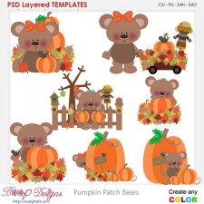 Pumpkin Patch Bears Layered Element Templates