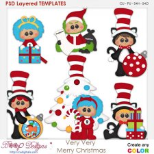 Very Very Merry Christmas Layered Element Templates