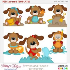Peyton the Dog Summer Fun Layered Element Templates