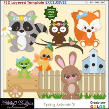Spring Animals 01 - EXCLUSIVE Layered TEMPLATES