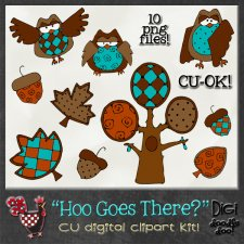 Hoo Goes There? Autumn Owls CU clipart
