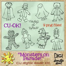 Monsters on Parade Halloween themed CU doodles
