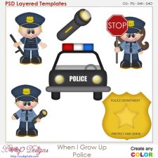 When I Grow Up Police Officer Layered Element Templates