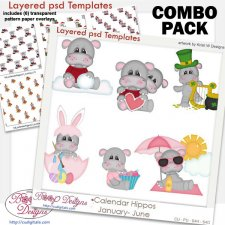Calendar Hippos Holiday 1 Layered Template & Pattern Overlay COMBO