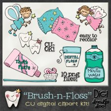 Brush n Floss - CU clipart