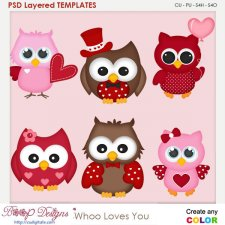 Whoo Loves You Layered Element Templates