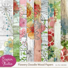 Flowery Doodle Wood Papers by PapierStudio Silke