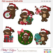 Squirrels are Nuts About Christmas Layered Element Templates