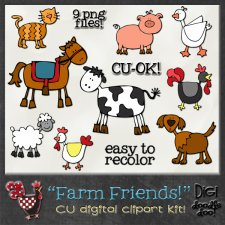 Farm Friends CU clipart