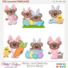 Bixby and Belinda Bunny Bears Layered Element Templates