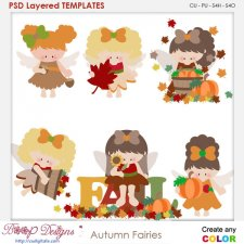 Autumn Fairies Layered Element Templates
