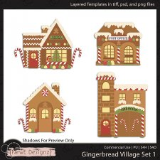 EXCLUSIVE Layered Gingerbread Village Templates By NewE Designz