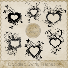 Doodled Heart Swirly Frames 2 by Josy