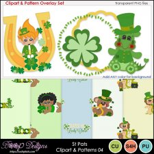 St Pats 04 - Clipart & Pattern Overlay COMBO