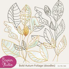 Bold Autumn Foliage Doodles by PapierStudio Silke