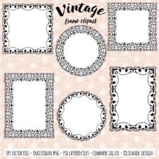 Vintage Ornate Frame Templates by Lilmade Designs