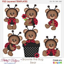 Brownie the Bug Bear Layered Element Templates