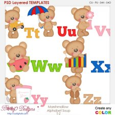 Marshmallow Bear Alphabet Soup T to Z Layered Element Templates