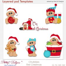 Chubbies Baby 1st Christmas Layered Template COMBO Set