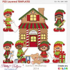 Santa's Workshop Layered Element Templates