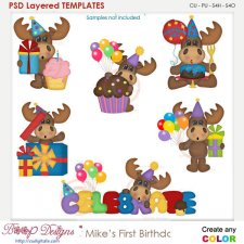 Mike's First Birthday Layered Element Templates