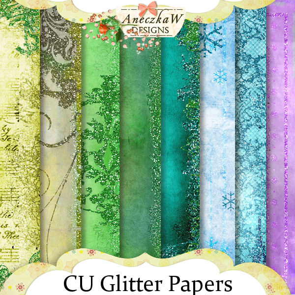 Glitter Papers by Aneczkaw