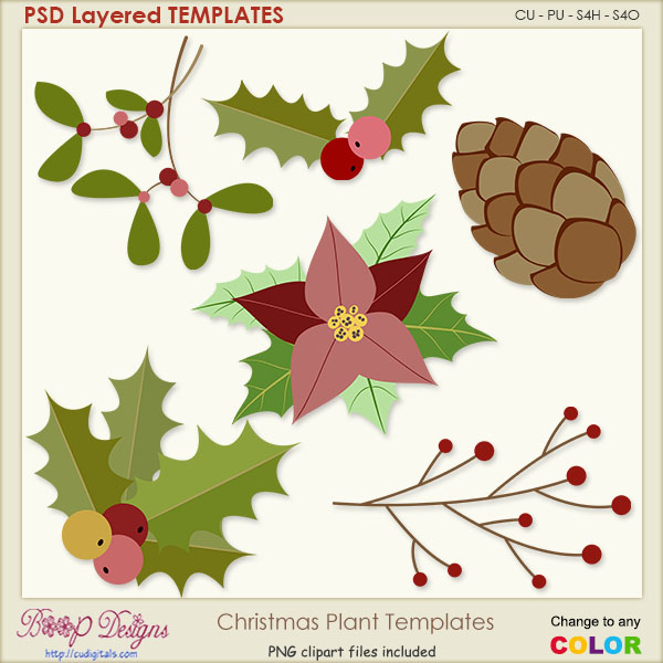 Christmas Winter Plants Layered TEMPLATES