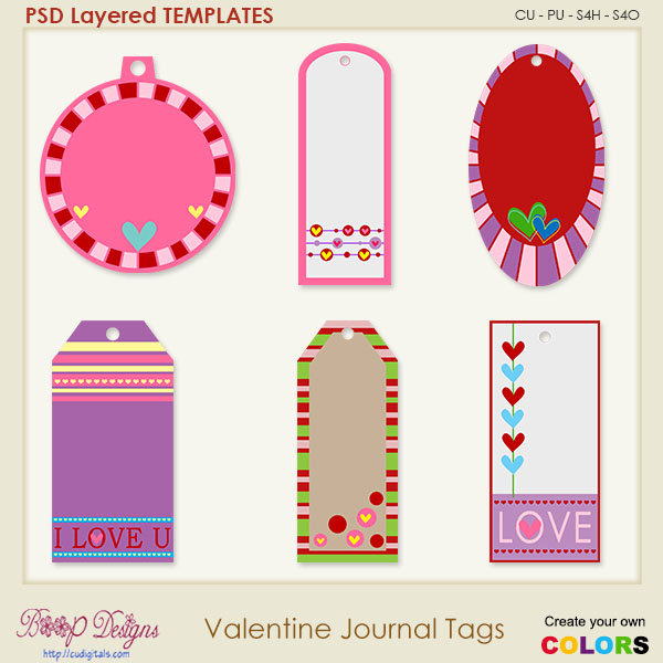 Valentine Journal Tags Layered Element TEMPLATES